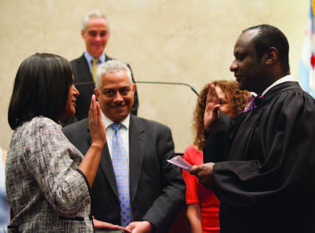 Sophia King was sworn in as the new 4th Ward alderman on April 13. (Photo by Brooke Collins, City of Chicago)